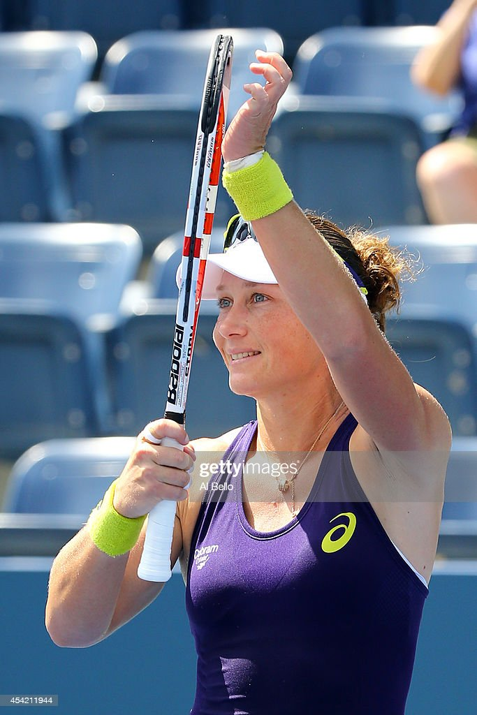 <a gi-track='captionPersonalityLinkClicked' href=/galleries/search?phrase=Samantha+Stosur&family=editorial&specificpeople=194778 ng-click='$event.stopPropagation()'>Samantha Stosur</a> of Australia reacts after defeating Lauren Davis of the United States during their women's singles first round match on Day Two of the 2014 US Open at the USTA Billie Jean King National Tennis Center on August 26, 2014 in the Flushing neighborhood of the Queens borough of New York City.