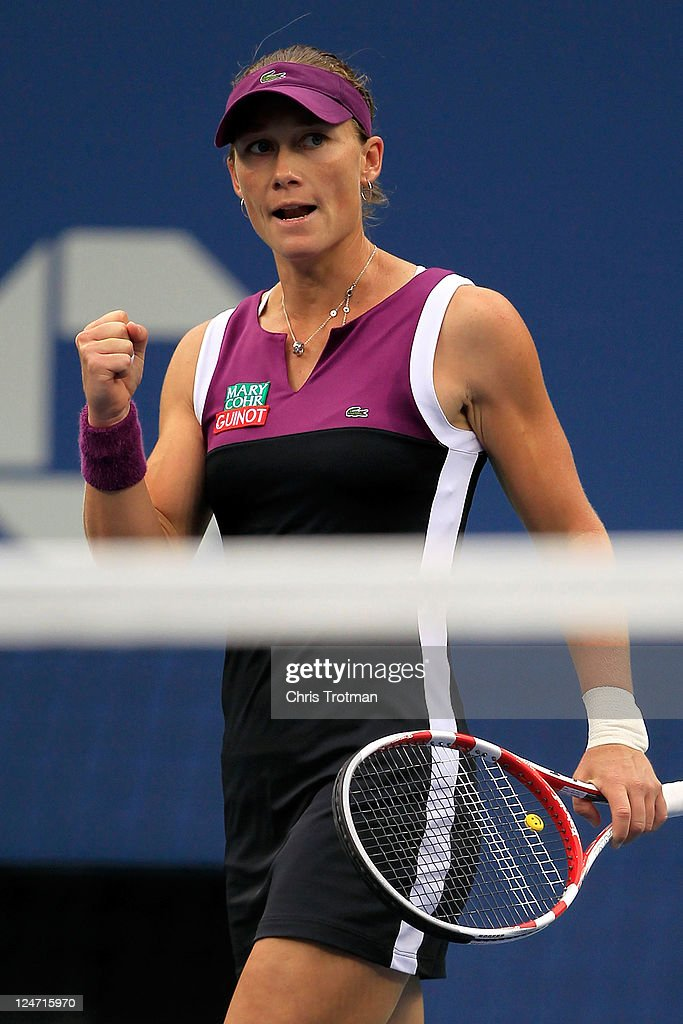 Samantha Stosur of Australia reacts after winning the first set against Serena Williams of the United States during the Women's Singles Final on Day Fourteen of the 2011 US Open at the USTA Billie Jean King National Tennis Center on September 11, 2011 in the Flushing neighborhood of the Queens borough of New York City.