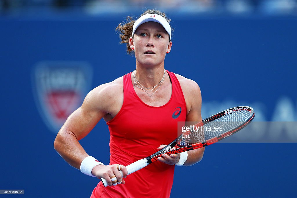 <a gi-track='captionPersonalityLinkClicked' href=/galleries/search?phrase=Samantha+Stosur&family=editorial&specificpeople=194778 ng-click='$event.stopPropagation()'>Samantha Stosur</a> of Australia reacts against Flavia Pennetta of Italy during their Women's Singles Fourth Round match on Day Eight of the 2015 US Open at the USTA Billie Jean King National Tennis Center on September 7, 2015 in the Flushing neighborhood of the Queens borough of New York City.