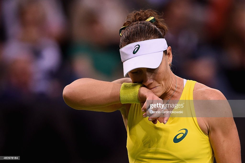 Samantha Stosur of Australia reacts during her single match against Angelique Kerber of Germany during the Fed Cup 2015 World Group First Round tennis between Germany and Australia at Porsche-Arena on February 8, 2015 in Stuttgart, Germany.
