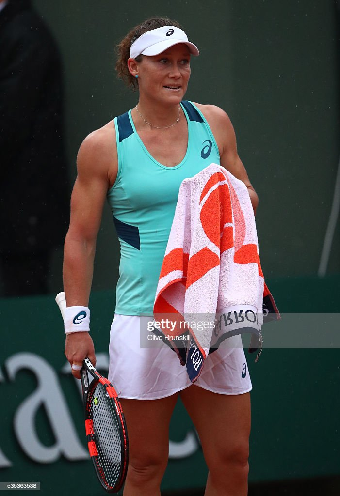 <a gi-track='captionPersonalityLinkClicked' href=/galleries/search?phrase=Samantha+Stosur&family=editorial&specificpeople=194778 ng-click='$event.stopPropagation()'>Samantha Stosur</a> of Australia reacts during the Ladies Singles fourth round match against Simona Halep of Romania on day eight of the 2016 French Open at Roland Garros on May 29, 2016 in Paris, France.