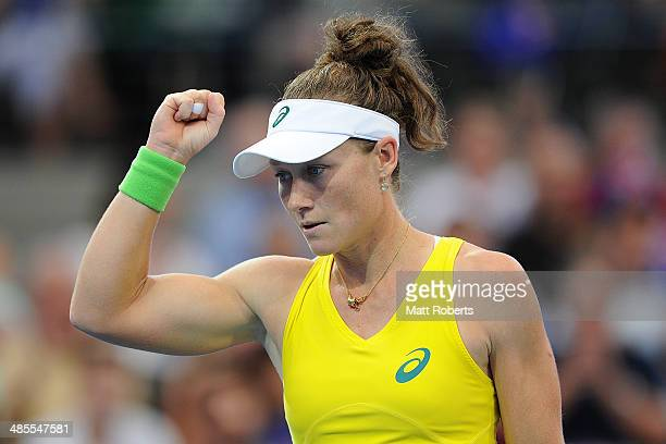 Samantha Stosur of Australia reacts in her match against Anna Petkovic of Germany during the Fed Cup Semi Final tie between Australia and Germany at...