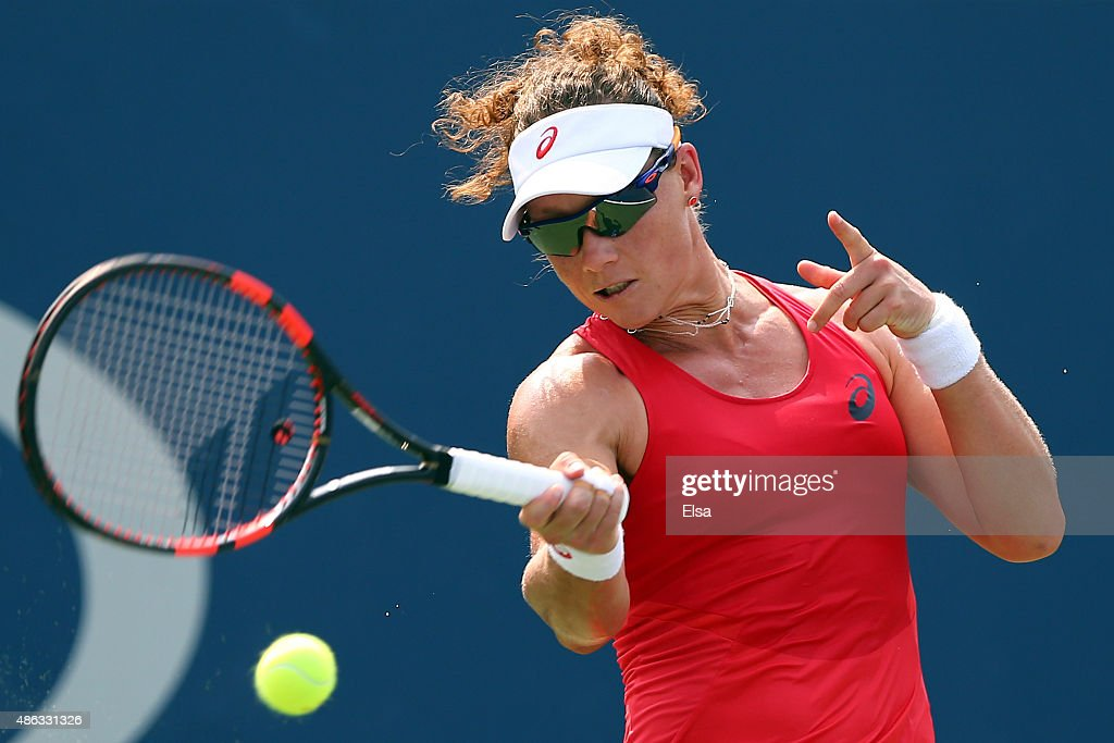 <a gi-track='captionPersonalityLinkClicked' href=/galleries/search?phrase=Samantha+Stosur&family=editorial&specificpeople=194778 ng-click='$event.stopPropagation()'>Samantha Stosur</a> of Australia returns a shot against Evgeniya Rodina of Russian during their Women's Singles Second Round match on Day Four of the 2015 US Open at the USTA Billie Jean King National Tennis Center on September 3, 2015 in the Flushing neighborhood of the Queens borough of New York City.