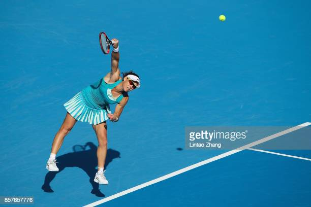 Samantha Stosur of Australia returns a shot against Jelena Ostapenko of Latvia during the Women's singles second round on day five of 2017 China Open...