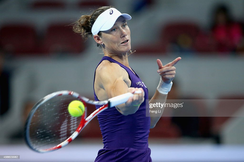 <a gi-track='captionPersonalityLinkClicked' href=/galleries/search?phrase=Samantha+Stosur&family=editorial&specificpeople=194778 ng-click='$event.stopPropagation()'>Samantha Stosur</a> of Australia returns a shot during her semifinal match against Petra Kvitova of Czech Republic during day eight of the China Open at the China National Tennis Center on October 4, 2014 in Beijing, China.