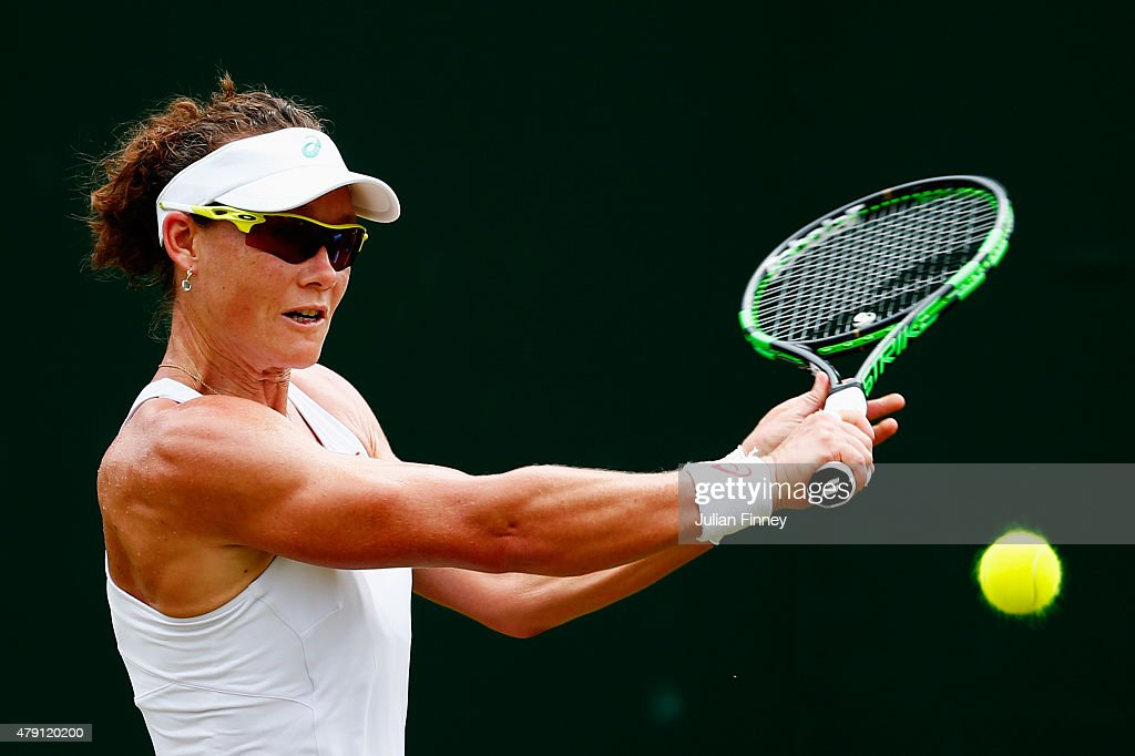 <a gi-track='captionPersonalityLinkClicked' href=/galleries/search?phrase=Samantha+Stosur&family=editorial&specificpeople=194778 ng-click='$event.stopPropagation()'>Samantha Stosur</a> of Australia returns a shot in her Ladies Singles Second Round match against Urszula Radwanska of Poland during day three of the Wimbledon Lawn Tennis Championships at the All England Lawn Tennis and Croquet Club on July 1, 2015 in London, England.