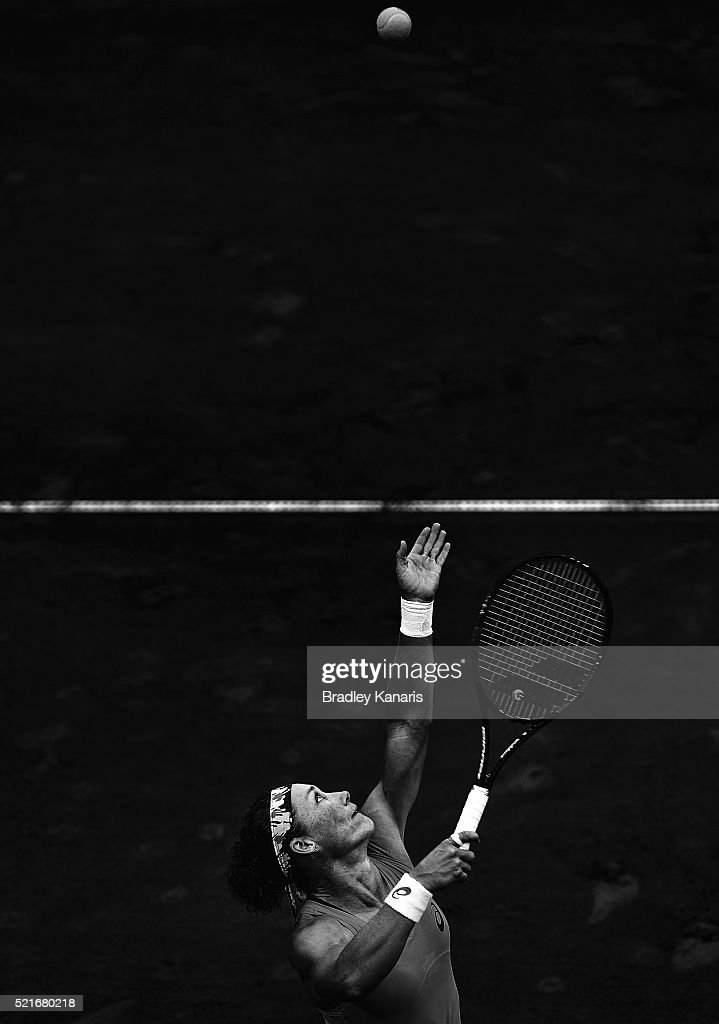 Samantha Stosur of Australia serves during her match against Coco Vandeweghe of the USA in the Fed Cup tie between Australia and the United States at...