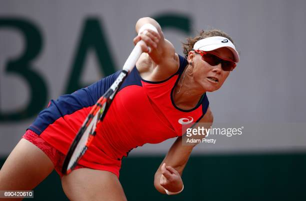 Samantha Stosur of Australia serves during the second round match against Kirsten Flipkens of Belgium on day four of the 2017 French Open at Roland...