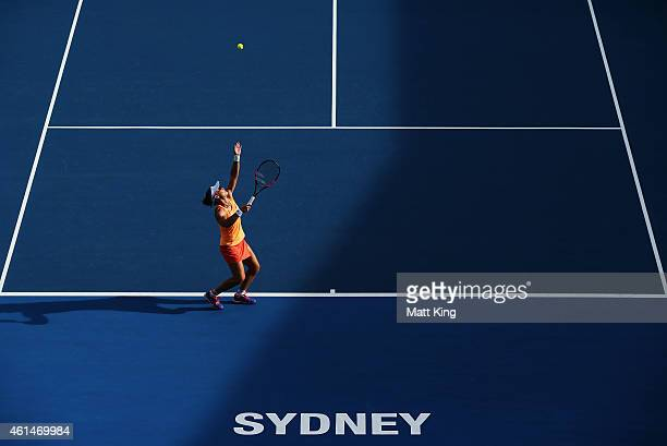 Samantha Stosur of Australia serves in her match against Barbora Zahlavova Strycova of the Czech Republic during day three of the Sydney...