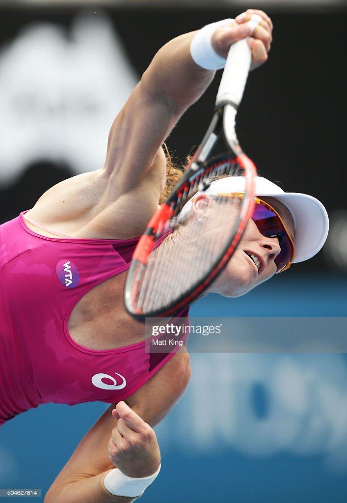 Samantha Stosur of Australia serves in her match against Daniela Hantuchova of Slovakia during day three of the 2016 Sydney International at Sydney Olympic Park Tennis Centre on January 12, 2016 in Sydney, Australia.