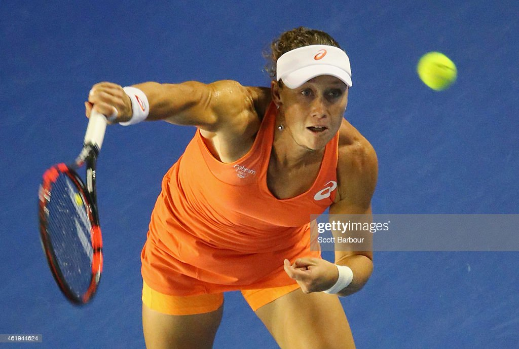 <a gi-track='captionPersonalityLinkClicked' href=/galleries/search?phrase=Samantha+Stosur&family=editorial&specificpeople=194778 ng-click='$event.stopPropagation()'>Samantha Stosur</a> of Australia serves in her second round match against Coco Vandeweghe of the United States during day four of the 2015 Australian Open at Melbourne Park on January 22, 2015 in Melbourne, Australia.