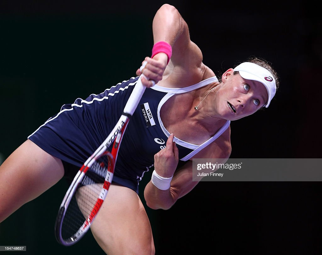 <a gi-track='captionPersonalityLinkClicked' href=/galleries/search?phrase=Samantha+Stosur&family=editorial&specificpeople=194778 ng-click='$event.stopPropagation()'>Samantha Stosur</a> of Australia serves to Sara Errani of Italy during day three of the season ending TEB BNP Paribas WTA Championships Tennis at the Sinan Erdem Dome on October 25, 2012 in Istanbul, Turkey.