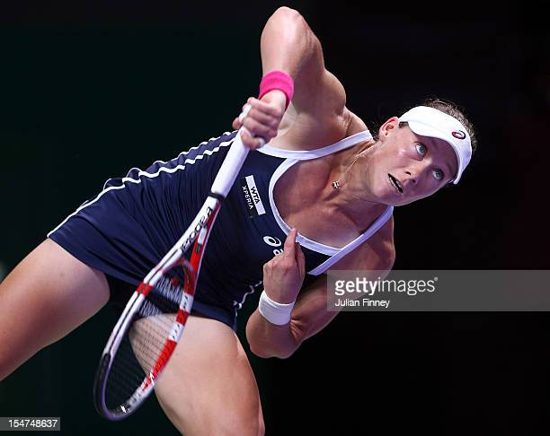 Samantha Stosur of Australia serves to Sara Errani of Italy during day three of the season ending TEB BNP Paribas WTA Championships Tennis at the...