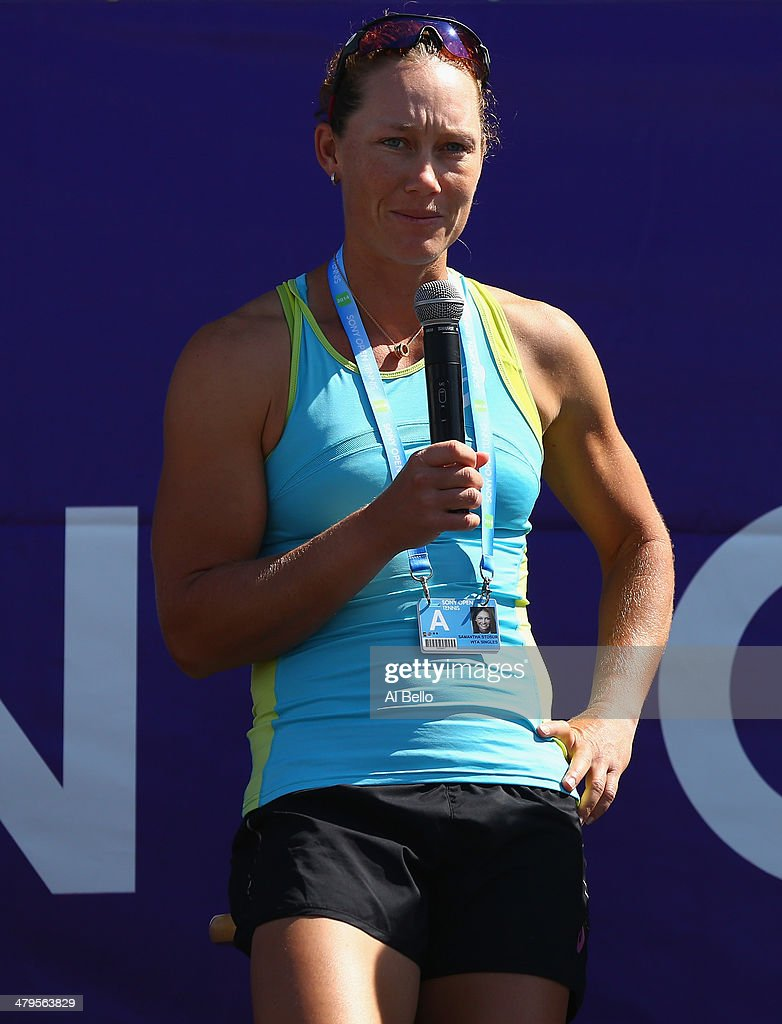 Samantha Stosur of Australia speaks to the crowd during a question and answer session on day 3 of the Sony Open at Crandon Park Tennis Center on March 19, 2014 in Key Biscayne, Florida.