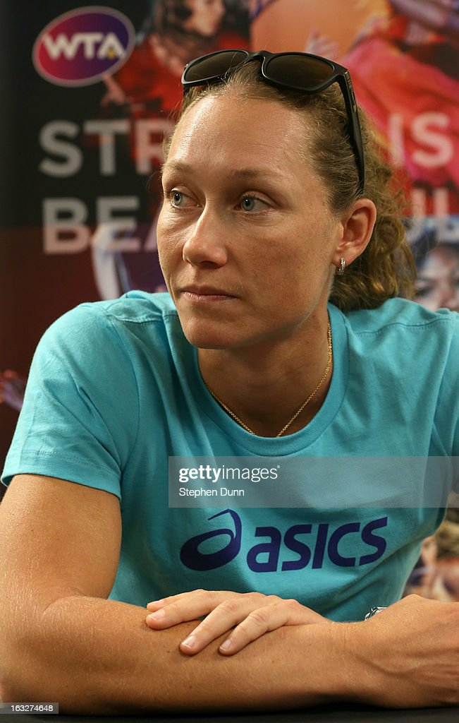 Samantha Stosur of Australia speaks to the media during All Access Hour during day 1 of the BNP Paribas Open at Indian Wells Tennis Garden on March 6, 2013 in Indian Wells, California.
