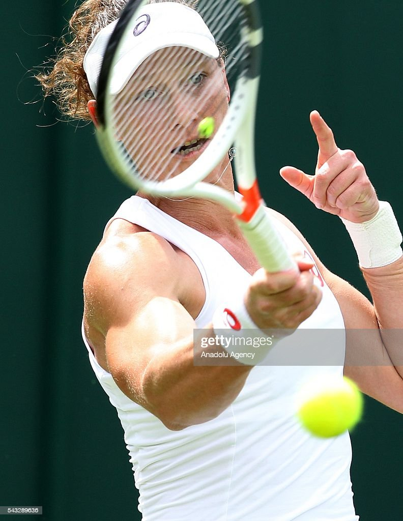 Samantha Stosur of Austria in action against Magda Linette of Poland in the womens' singles on day one of the 2016 Wimbledon Championships at the All England Lawn Tennis and Croquet Club in London, United Kingdom on June 27, 2016.