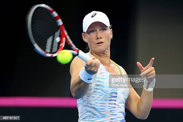 Samantha Stosur plays a forehand during a training session ahead of their Fed Cup tie between Australia and Germany at Pat Rafter Arena on April 17...