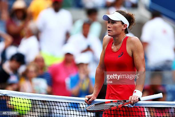 Samantha Stosur reacts after loosing to Flavia Pennetta of Italy during their Women's Singles Fourth Round match on Day Eight of the 2015 US Open at...