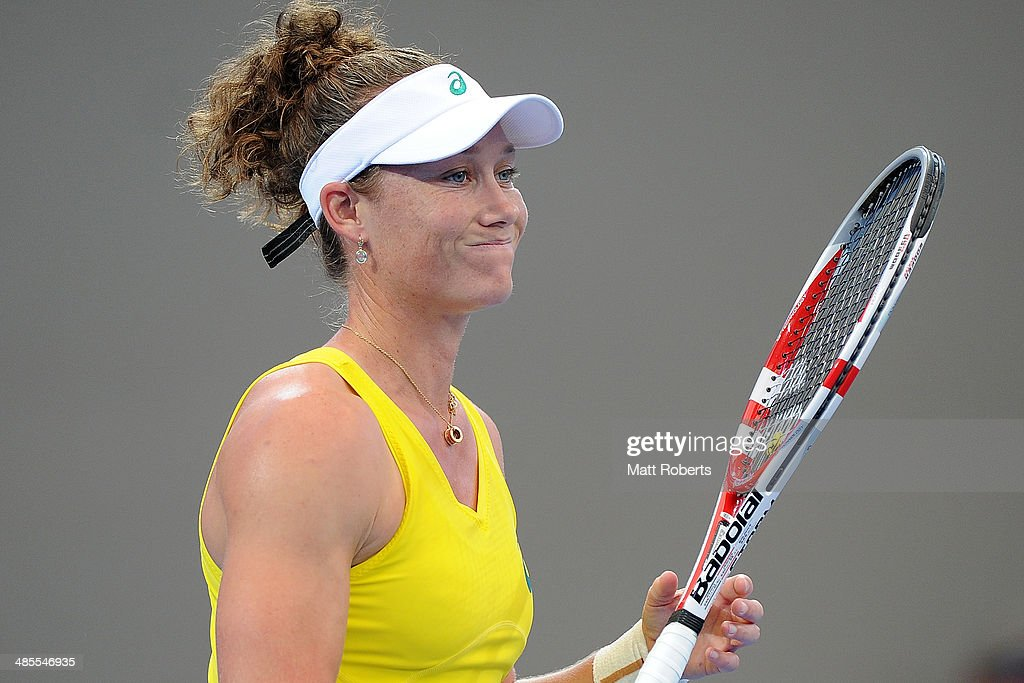 <a gi-track='captionPersonalityLinkClicked' href=/galleries/search?phrase=Samantha+Stosur&family=editorial&specificpeople=194778 ng-click='$event.stopPropagation()'>Samantha Stosur</a> reacts in her match against Anna Petkovic during the Fed Cup Semi Final tie between Australia and Germany at Pat Rafter Arena on April 19, 2014 in Brisbane, Australia.
