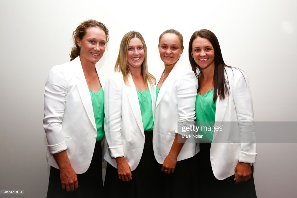 <a gi-track='captionPersonalityLinkClicked' href=/galleries/search?phrase=Samantha+Stosur&family=editorial&specificpeople=194778 ng-click='$event.stopPropagation()'>Samantha Stosur</a>, Storm Sanders, <a gi-track='captionPersonalityLinkClicked' href=/galleries/search?phrase=Ashleigh+Barty&family=editorial&specificpeople=7369424 ng-click='$event.stopPropagation()'>Ashleigh Barty</a> and <a gi-track='captionPersonalityLinkClicked' href=/galleries/search?phrase=Casey+Dellacqua&family=editorial&specificpeople=575797 ng-click='$event.stopPropagation()'>Casey Dellacqua</a> of Australia pose for a photo during the official dinner ahead of the Fed Cup Tie between Australia and Russia on February 6, 2014 in Hobart, Australia.
