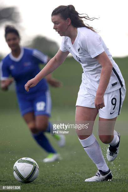 Samantha Tawharu of New Zealand in action during the Oceania U19 Womens Championship match between New Zealand and Samoa at Ngahue Reserve on July 21...