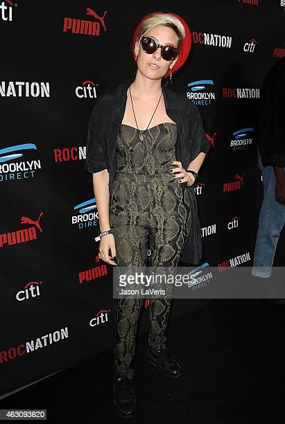 Samantha Urbani attends the Roc Nation Grammy brunch on February 7 2015 in Beverly Hills California
