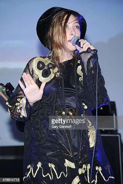 Samantha Urbani of Blood Orange performs at the Armory Party at The Museum of Modern Art on March 5 2014 in New York City
