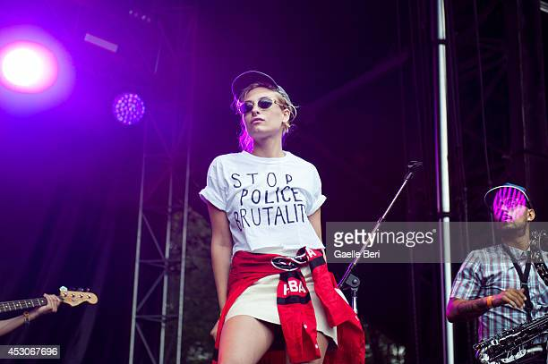 Samantha Urbani of Friends performs on stage with Blood Orange on Day 1 of Lollapalooza Festival at Grant Park on August 1 2014 in Chicago United...