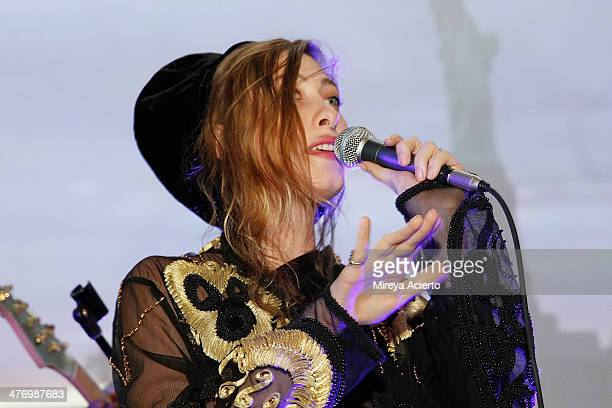 Samantha Urbani performs with Blood Orange at the Armory Party 2014 at The Museum of Modern Art on March 5 2014 in New York City