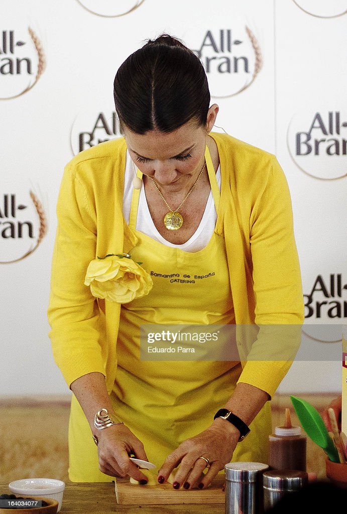 Samantha Vallejo Najera attends All Bran showcooking at Angel's garden on March 19, 2013 in Madrid, Spain.