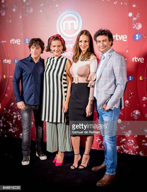 Samantha Vallejo Najera Jordi Cruz Pepe Rodriguez Rey and Eva Gonzalez during 'MasterChef Celebrity' 2 presentation on September 14 2017 in Madrid...