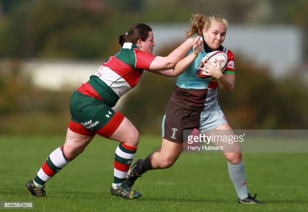 Samantha Voyle of Harlequins Ladies and Rachael Thomas of Firwood Waterloo Ladies in action during the Tyrrells Premier 15s match between Harlequins...