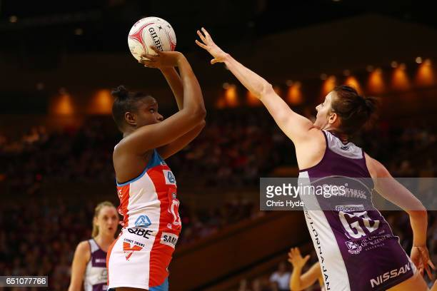 Samantha Wallace of Swift shoots during the round four Super Netball match between the Firebirds and the Swifts at Brisbane Convention Exhibition...
