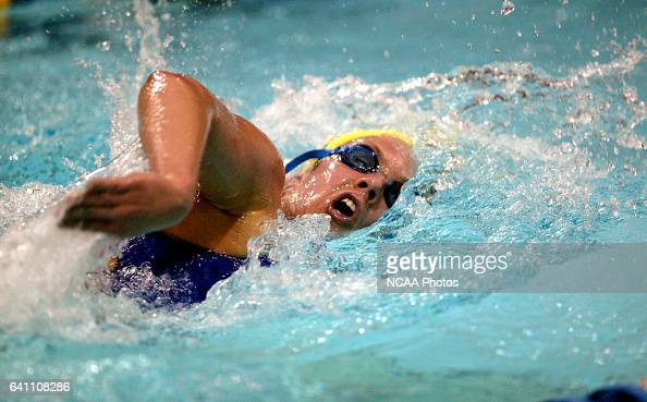 Samantha White of Emory University swims toward a second place finish in the women's 1650 yard freestyle Final during the Division 3 Women's Swimming...