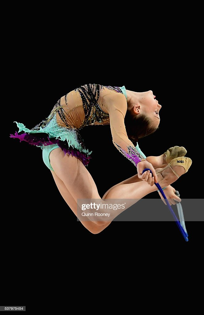 Samara Farrell of South Australia competes with the rope in the rhythmic gymnastics during the 2016 Australian Gymnastics Championships at Hisense...
