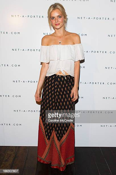 Samara Weaving arrives at the NetaPortercom Fashion week cocktail party at Ananas on April 11 2013 in Sydney Australia