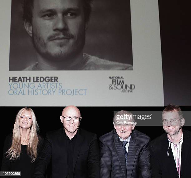Samara Weaving father of the late Heath Ledger Kim Ledger Hon Simon Crean and Simon Weaving pose at the Launch of the Heath Ledger Young Artists'...