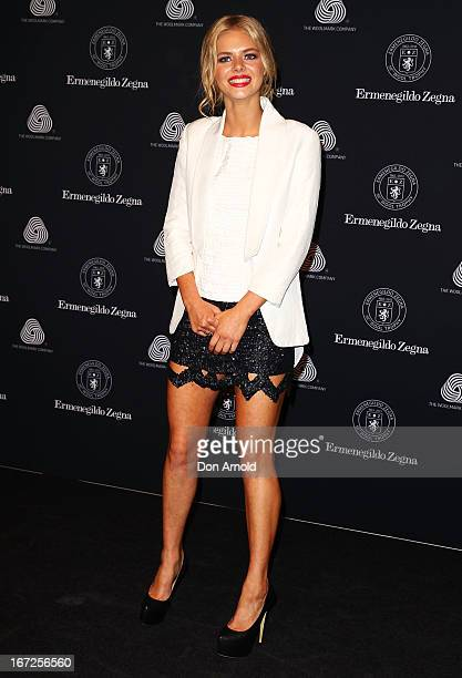 Samara Weaving poses during the 50th Anniversary Wool Awards at Royal Hall of Industries Moore Park on April 23 2013 in Sydney Australia