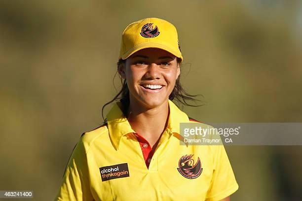 Samara Williams of Western Australia walks off the field during the 20415 Imparja Cup on February 12 2015 in Alice Springs Australia