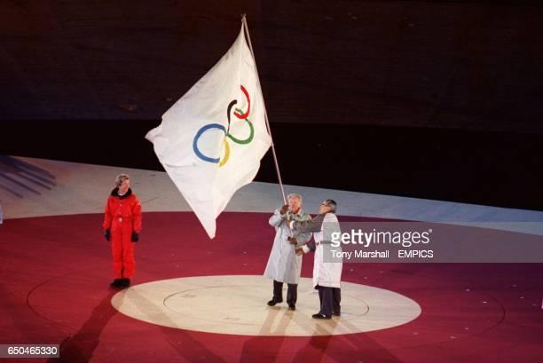 Samarach with the Olympic flag