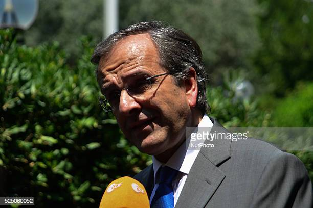 PM Samaras talking to the media in Athens Greece on August 4 2014