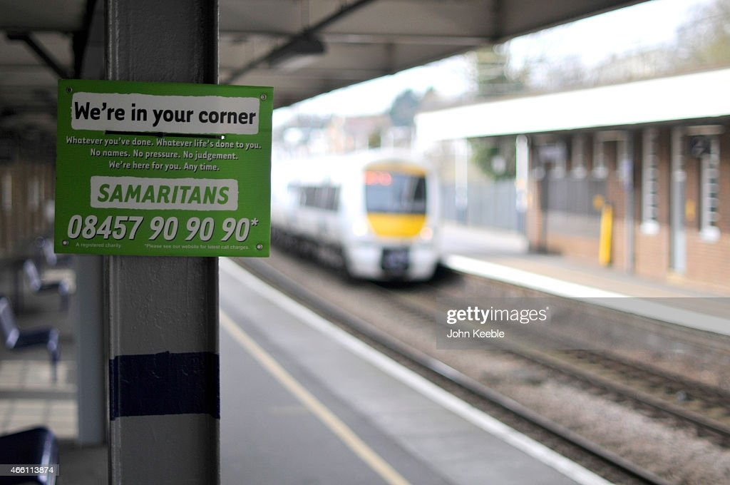 A Samaritans sign is seen on a railway platform at Chalkwell Station on March 13, 2015 in Leigh on Sea, United Kingdom.