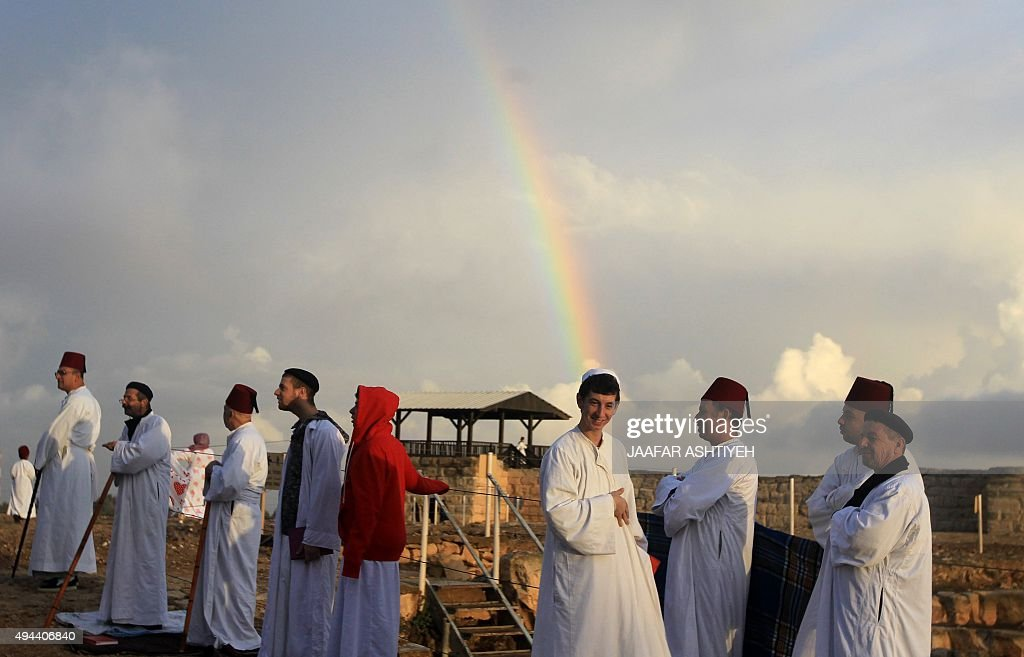 Samaritans stand on top of Mount Gerizim near the northern West Bank city of Nablus on October 27 2015 during Sukkot celebrations Sukkot marks the...
