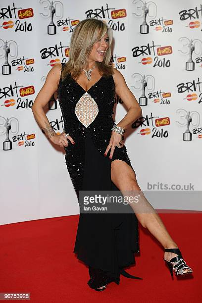 Samatha Fox poses in the Awards room at The Brit Awards 2010 at Earls Court on February 16 2010 in London England
