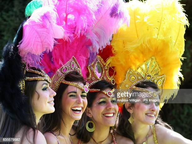 Samba dancers Fiona Hay Georgina Anderson Thraissa Luna and Gillian Harkness from dance troupe Eletricat during a photocall in Sauchiehall Street...