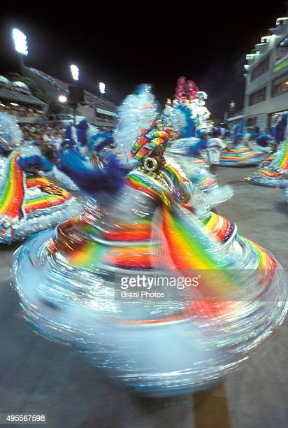 Samba Schools Parade in Sambodromo Rio de Janeiro Carnival Brazil Members of the 'ala das Baianas' the traditional segment of Bahian AfricanBrazilian...