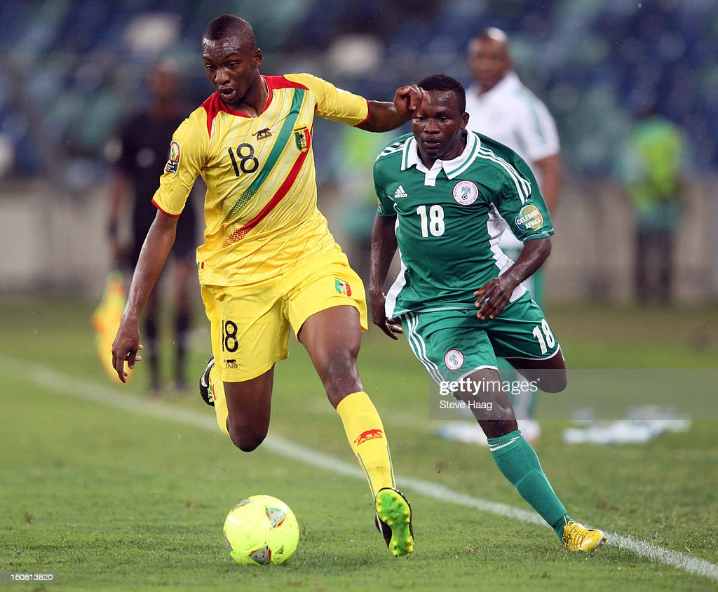 Samba Sow of Mali attacks during the 2013 African Cup of Nations Semi-Final match between Mali and Nigeria at Moses Mahbida Stadium on February 06, 2013 in Durban, South Africa.