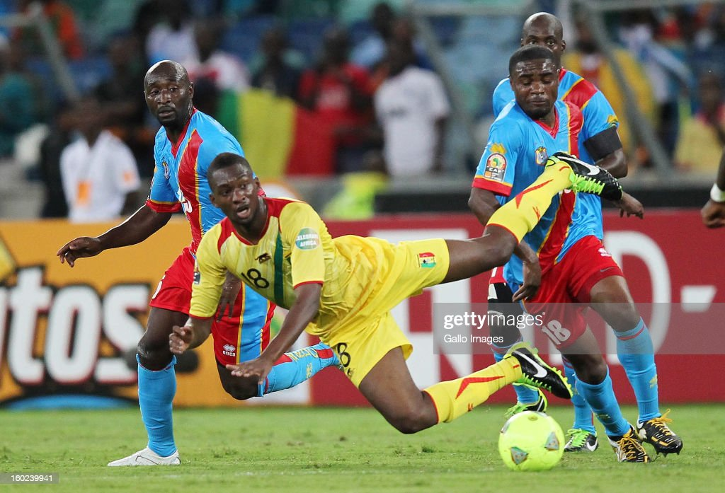 AFRICA - JANUARY 28, Samba Sow of Mali is fouled during the 2013 Orange African Cup of Nations match between DR Congo and Mali from Moses Mabhida Stadium on January 28, 2013 in Durban, South Africa.