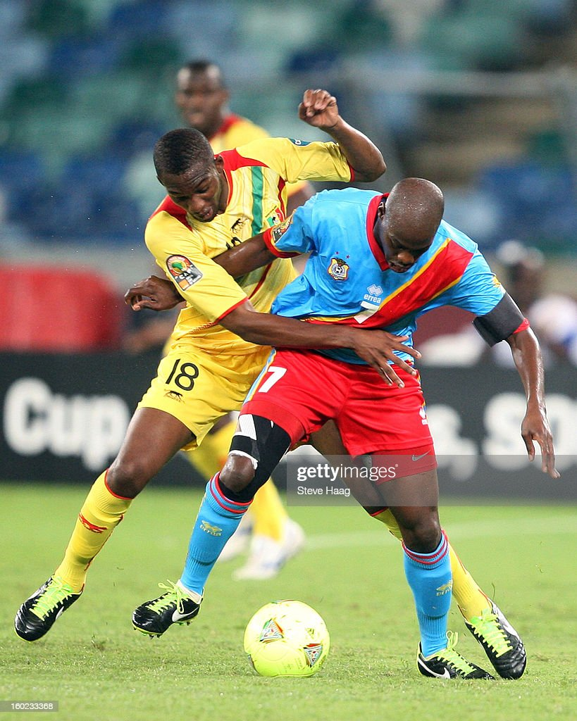 Samba Sow of Mali looks to tackle Youssouf Mulumbu of DR Congo during the 2013 African Cup of Nations match between Congo DR and Mali at Moses Mahbida Stadium on January 28, 2013 in Durban, South Africa.