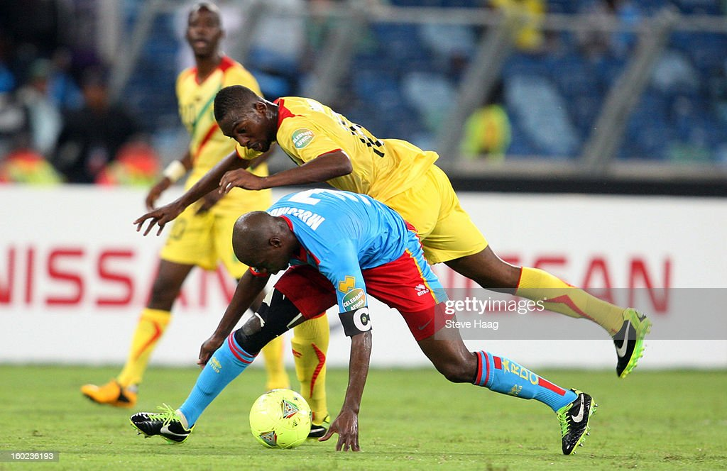 Samba Sow of Mali with a tackle on Youssouf Mulumbu of DR Congo during the 2013 African Cup of Nations match between Congo DR and Mali at Moses Mahbida Stadium on January 28, 2013 in Durban, South Africa.